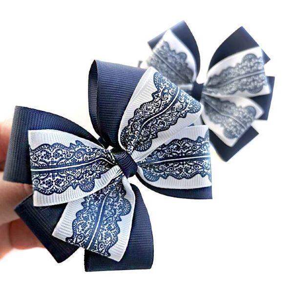 Бант для волос Ярослава синий с рисунком