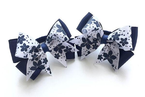 Бант для девочек Ассоль темно-синий с белым верхом в цветочек