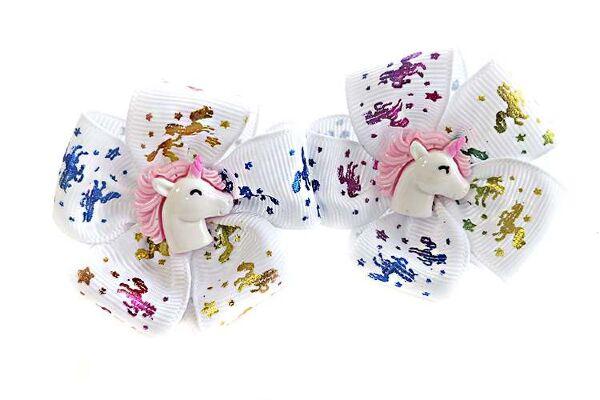 Детский бантик Карусель белый с рисунком цветные лошадки