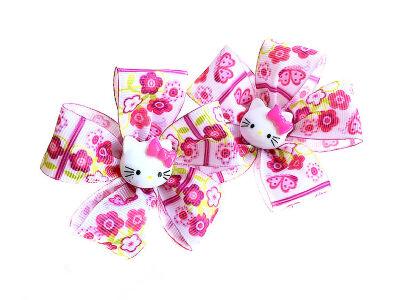 Детский бантик Карусель розовый с кошкой