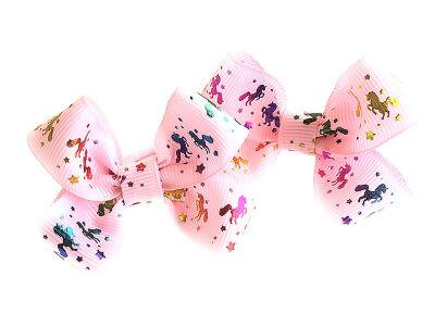 Детский бантик Мульти-пульти №2 розовый с лошадками