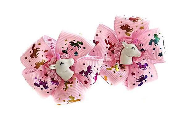 Детский бантик Карусель розовый с рисунком цветные лошадки