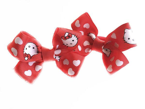 Детский бантик Мульти-пульти №5 красный с кошками