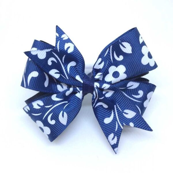 Бант из репсовых лент Каприз синий с рисунком цветы
