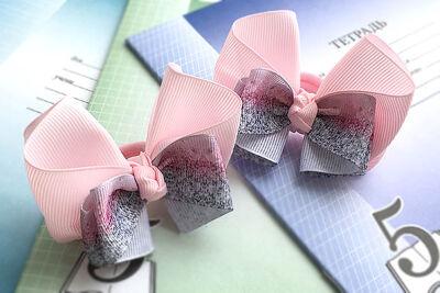 Бант для девочек испанский розовый с пестрым