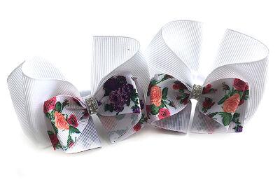 Бант для девочек испанский белый с цветами