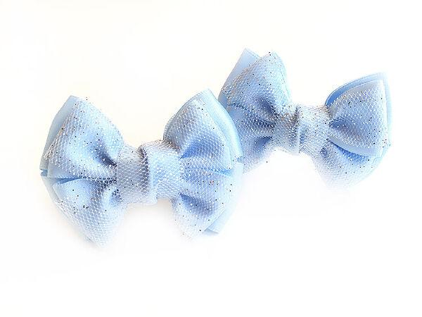 Бантик для волос Малышка голубой с фатином