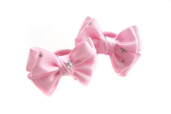 Бантик для волос Малышка розовый фатин с звездами
